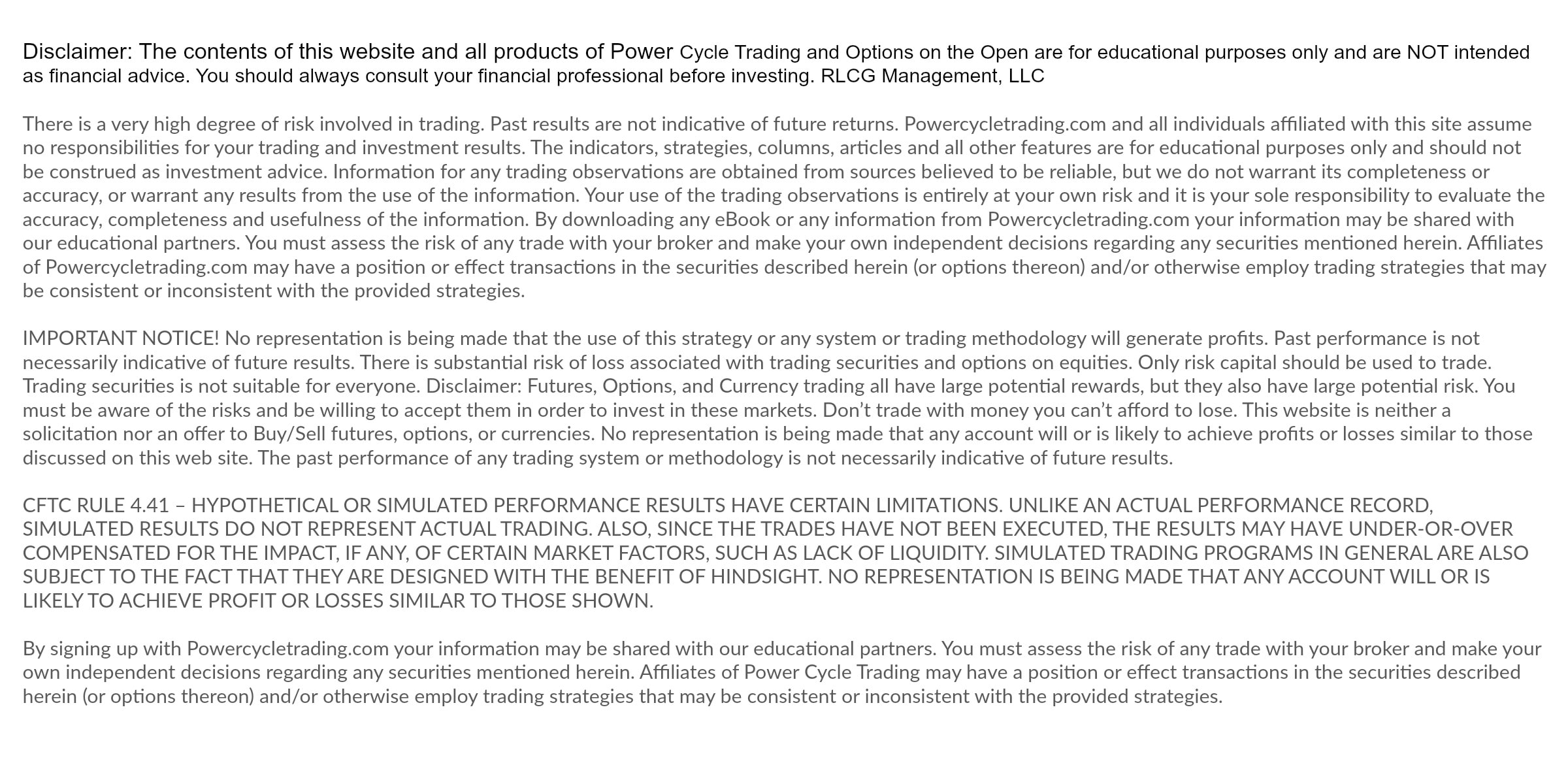 Options trading disclaimer